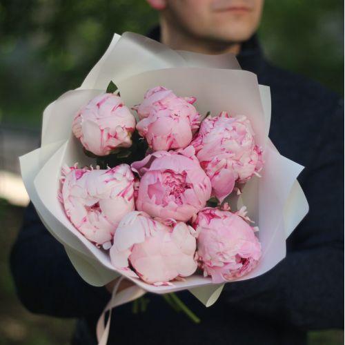 Букет 7 розовых пионов в белой матовой бумаге